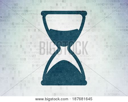 Time concept: Painted blue Hourglass icon on Digital Data Paper background