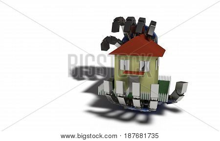 Home Insurance Concept On White, 3D Render