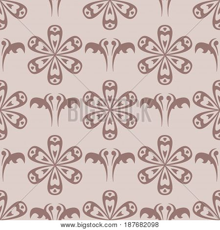Brown floral seamless pattern. Fabric prints. Vector illustration
