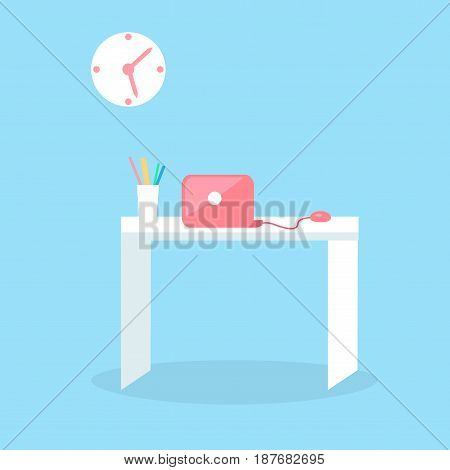 Stylish red notebook on white table with glass full of pencils isolated on blue background. Futuristic workspace vector illustration. White table with computer and stylish clock above the desk