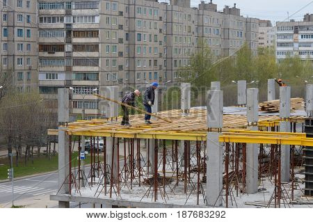 May 15 2017: Photo of construction of a multi-storey building. Monolithing. Cheboksary. Russia.