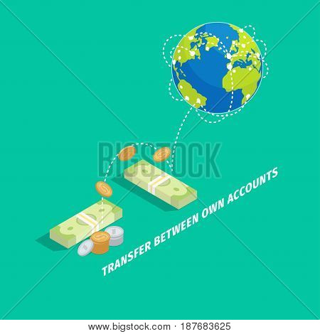 Set of money transfer between own accounts graphic icon on turquoise background. Banknotes and coins that transferred to different parts of planet. Vector illustration in cartoon style flat design.