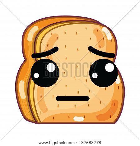 kawaii cute sad chopped bread, vector illustration design