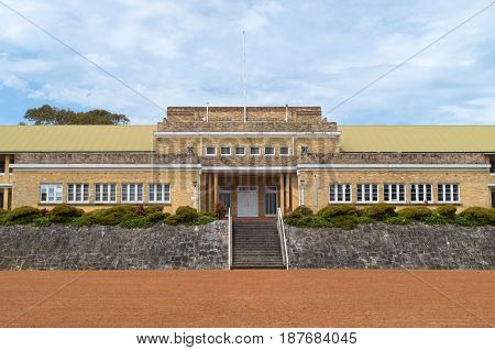 MANLY, NEW SOUTH WALES/AUSTRALIA - NOVEMBER 7, 2016: Former army barracks building and parade grounds until now protected from commercial development and just recently opened up for lease.