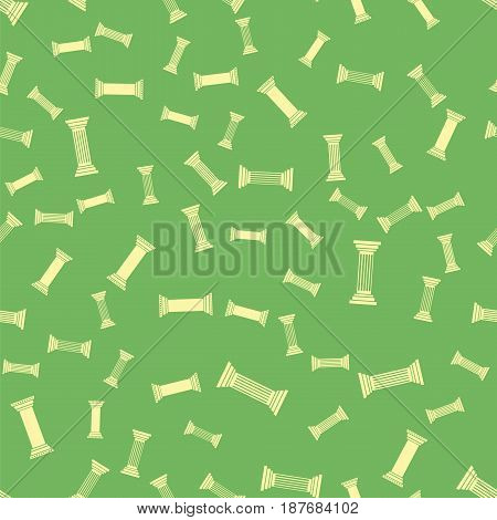 Greek Column Seamless Pattern on Green Background