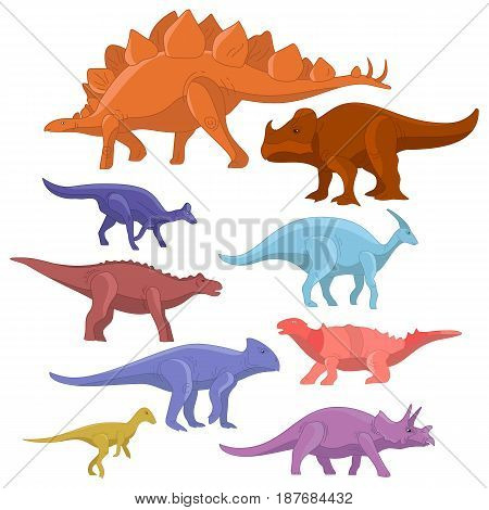 Different type of cartoon dinosaurs cute monster set. Dinosaur cartoon collection prehistoric character tyrannosaurus funny animal. Graphic illustration art