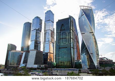 Luxury building glass skyscrapers of Moscow city Russia