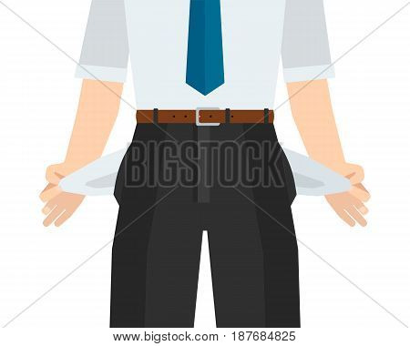 Businessman has no money empty pocket. Graphic illustration