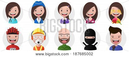 Set of avatars positive persons female and male heads different professions in flat style. Editable eps10 Vector. Transparent background.