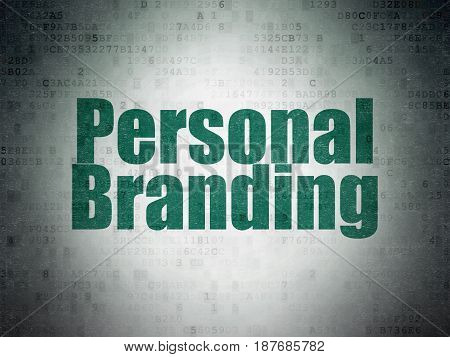 Advertising concept: Painted green word Personal Branding on Digital Data Paper background