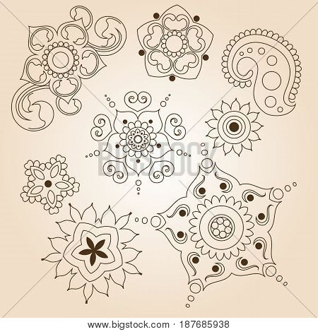 Henna tattoo doodle set. Mehndi linear elements on brown background. Graphic illustration