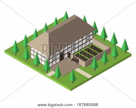 Old traditional historical Welsh house. Farmhouse with garden and trees. Flat design. EPS 8 compatible vector illustration no transparency no gradients