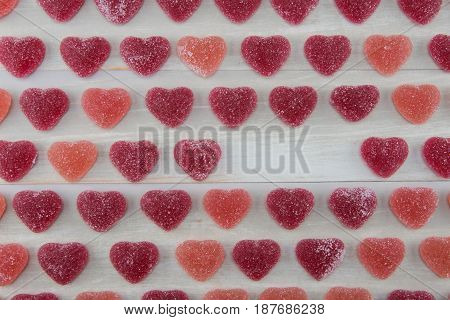 Dark Red and Pink Gummy Hearts with Blank Area on Right