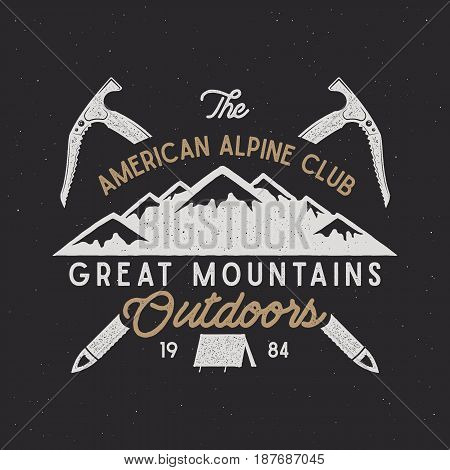Vintage alpine badge. Climbing alpine logo, vintage vector emblem. Alpine gear - tent, hook. Old style alpine t shirt design. Old style illustration. Letterpress effect. Isolated on retro background.