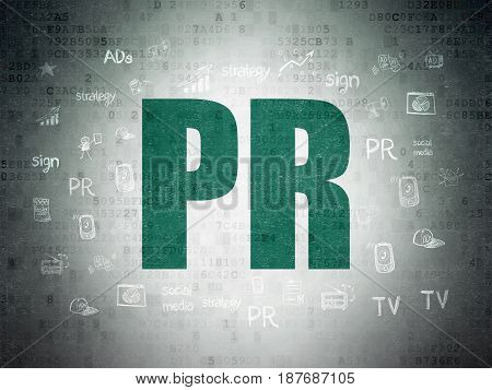 Marketing concept: Painted green text PR on Digital Data Paper background with  Hand Drawn Marketing Icons