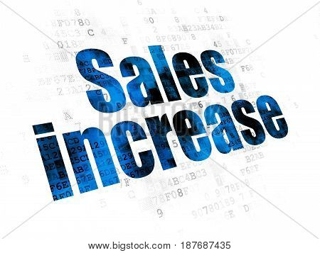 Marketing concept: Pixelated blue text Sales Increase on Digital background