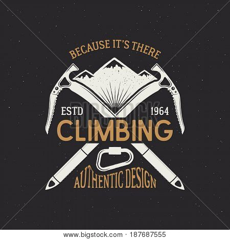 Climbing club emblem design. Vintage colors logo isolated on dark background. Mountains with letterpress effect and ribbon. Vector illustration.