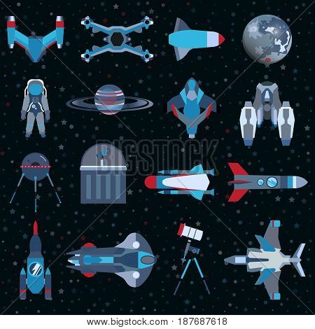 Spacecrafts flat icons equipment set. Cosmonaut space suit symbol spaceship collection. Graphic illustration