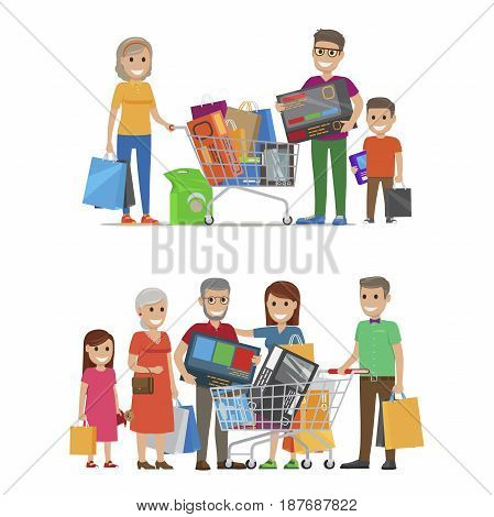 Groups of smiling people standing with bags and packs. Vector illustration of son with father and grandmother holding bought items and girl with parents and grandparents near trolley with goods