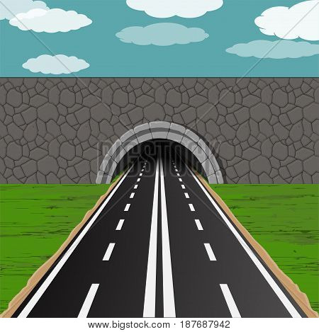 dark tunnel with two way road illustration