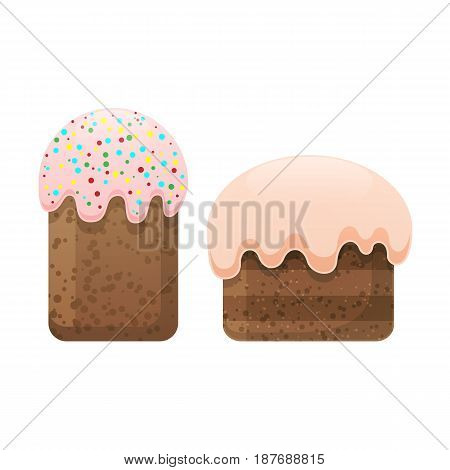 Two easter cakes with white topping, one decorated with caramels isolated on white. Homemade pie for spring holiday celebration, vector illustration of fresh bakery sweet biscuit in flat style