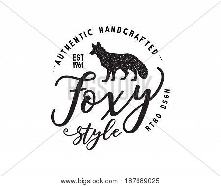 Vintage hand drawn wild animal label. Fox silhouette shape and typography elements - authentic handcrafted. Old style monochrome patch design. Rustic stamp vector t shirt template