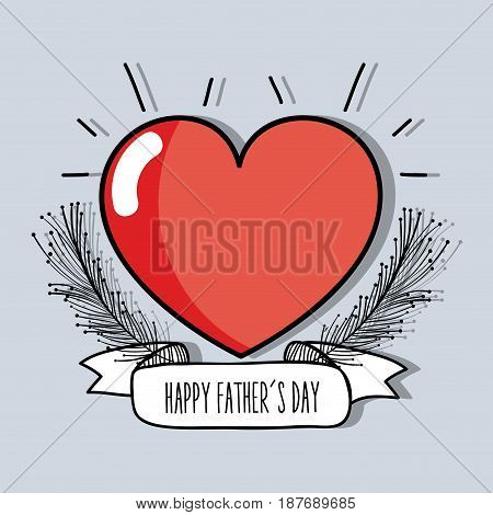heart with branch and ribbon to father day celebration, vector illustration
