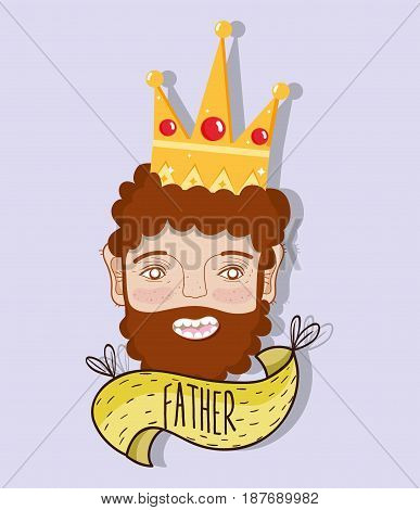 happy father with crown and beard, vector illustration
