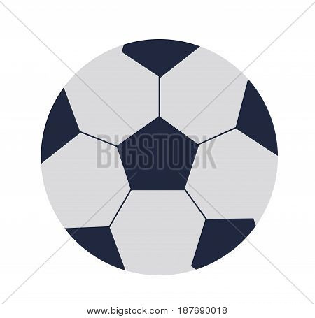 Big black and white ball to play football flat clipart illustration on white background. Sports equipment icon. Vector illustration of isolated object for physical activity and competitions.