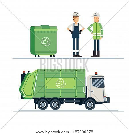Cool vector urban sanitary vehicle garbage front loader truck. Couple of people gathering garbage and plastic waste for recycling. Service recycling