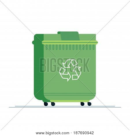 Dumpster icon. Flat illustration of green dumpster vector, recycling container