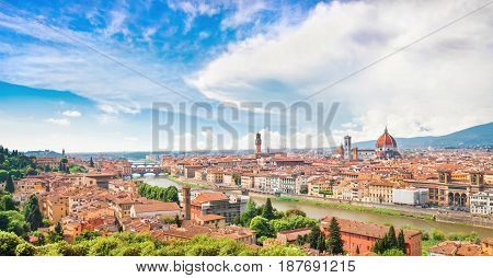 Panoramic View Of The City Of Florence With River Arno In Tuscany, Italy