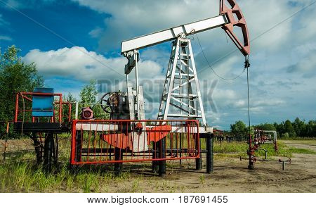 Oil pump, at the oil field in the northern part of Russia