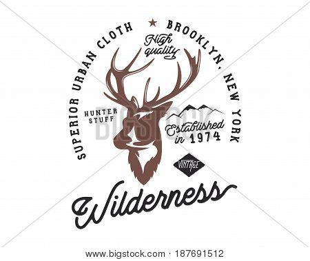 Hand drawn vintage camping badge and hiking label with hiking design elements and typography. Included deer head, mountains and quote text- wilderness . Old style patch. Rustic stamp vector template.