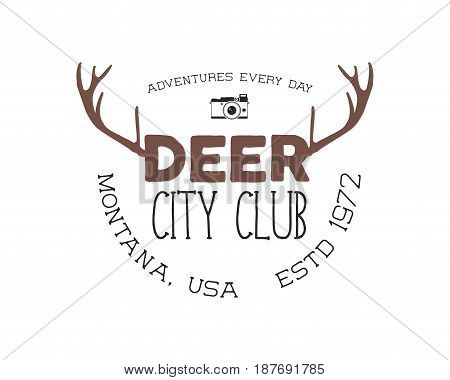 Hand drawn deer vintage badge. Deer city club logo template. Typography insignia with camera. Included deer antlers, text elements. Old style patch. Rustic stamp. Stock vector. Retro palette.