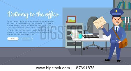 Delivery to the office cartoon web banner. Postman character in uniform with bag holding envelope in office interior flat vector illustration. Horizontal concept for mail or post company landing page