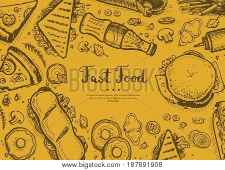 Fast food retro restaurant menu cover. Junk food creative poster with meal linear sketches. Snack vector advertising with hand drawn pizza, french fries, sandwich, hot dog, chicken elements