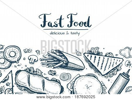 Fast food background with snack collection. Vector restaurant menu cover with hand drawn pizza, french fries, sandwich, hot dog, chicken elements. Junk food creative poster with meal linear sketches.