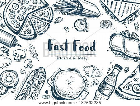 Junk food background with snack collection. Vector restaurant menu cover with hand drawn pizza, french fries, sandwich, hot dog, chicken elements. Fast food creative design with meal linear sketches.