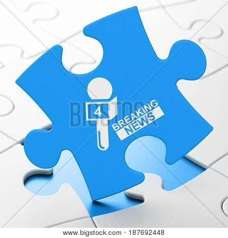 News concept: Breaking News And Microphone on Blue puzzle pieces background, 3D rendering