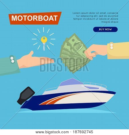 Buying motorboat online boat selling by cash web banner vector illustration. Transport advertising company e-commerce concept. Getting new key of new boat. Business agreement to encourage customer