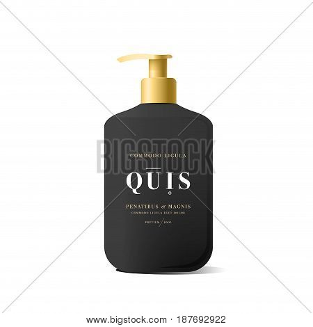 Realistic black bottle of liquid soap in white background. Cosmetic bottle for a cream, shampoo, oil, gel. Mock up. Design label for container. Batcher. Cosmetic products