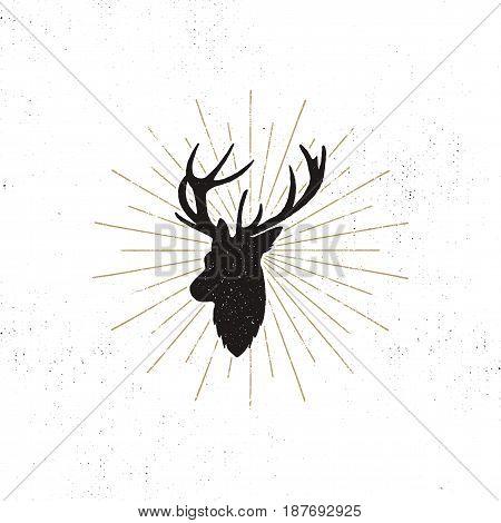 Deer shape with sunbursts. Silhouette animal design. Black wild animal isolated on white background. Vector illustration.