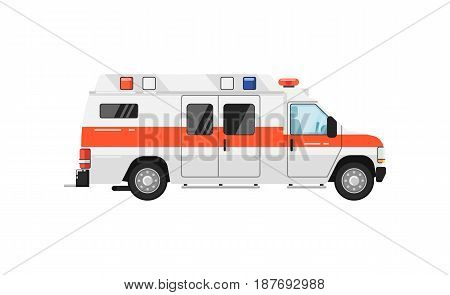 Ambulance car isolated vector illustration on white background. Service auto vehicle, city emergency transport, urban roadside assistance car.