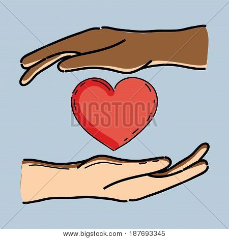 hands with heart in the midle to celebrete freedom, vector illustration