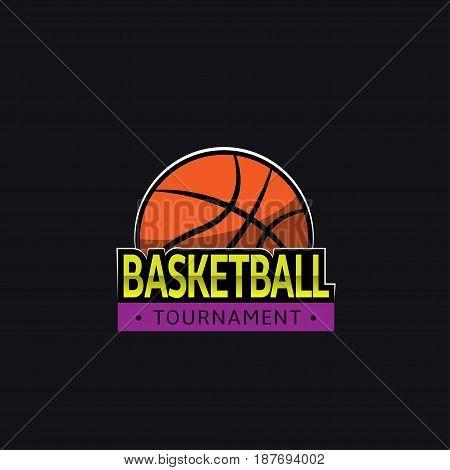 Basketball tournament logo template. Great basketball battle event poster