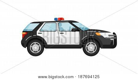 Police suv car isolated vector illustration on white background. Service auto vehicle, city emergency transport, urban roadside assistance car.