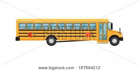 Yellow school bus isolated vector illustration on white background. Service auto vehicle, city public transport, urban social assistance.