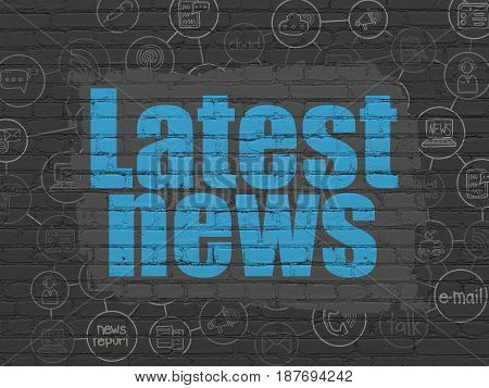 News concept: Painted blue text Latest News on Black Brick wall background with Scheme Of Hand Drawn News Icons