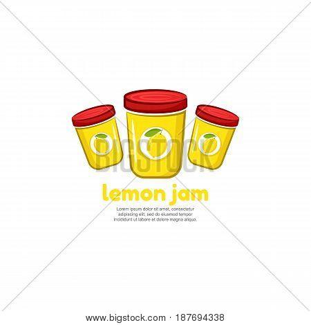 Template logo for lemon jam. Bank of delicious jam